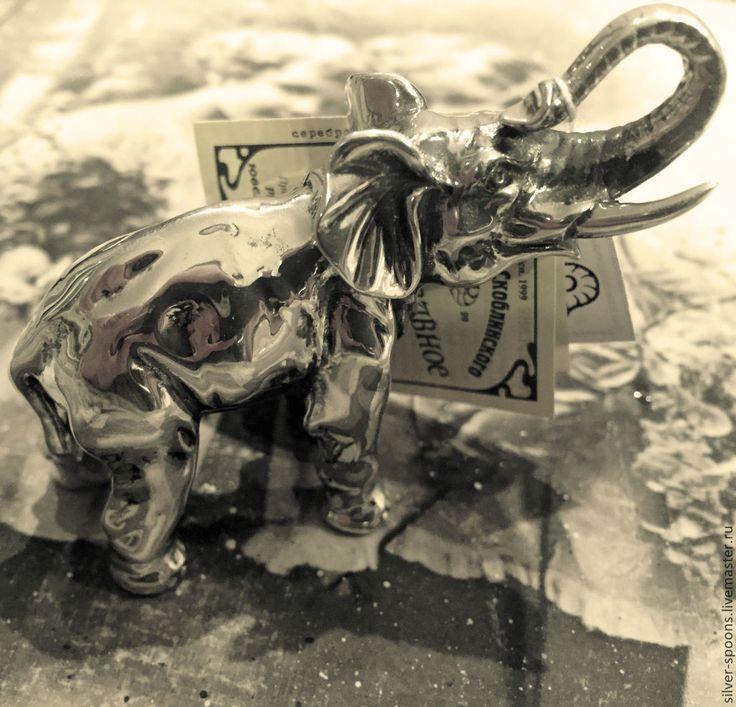 """Купить Серебряная фигурка """"Слон"""" - миниатюра, статуэтка """"Слон"""" - подарок на день рождения, подарок на юбилей"""