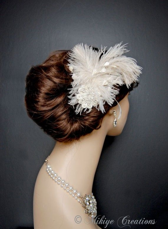 Wedding Fascinator Ivory Feather Fascinator by MikiyeCreations