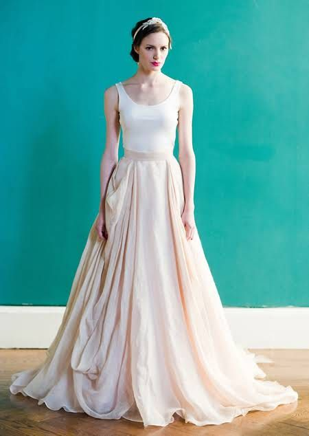 Skirt w/separate top.  add the right jewelry and it'd be perfect. A Modern, Casual Wedding Dress by Carol Hannah Whitfield : Brides