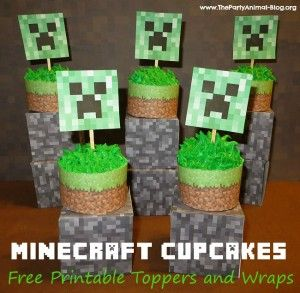 Minecraft Cupcake Toppers and Wrappers - FREE Printables via The Party Animal