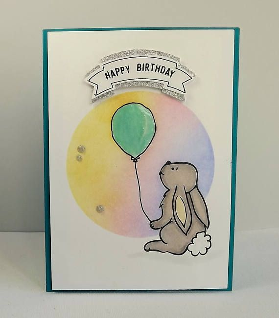 Rabbit and shiny balloon birthday card with sponged