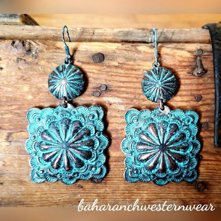 Cowgirl Bling Gypsy turquoise patina CONCHO EARRINGS southwest western #Baharanchwesternwear #pierced