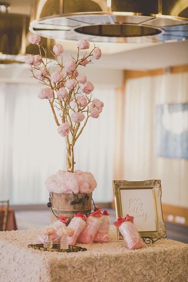 Pink cotton candy tree and bags of ombre cotton candy bags. Coral and Gold Wedding Inspiration - See more at Rebecca Chan Weddings and Events www.rebeccachan.ca