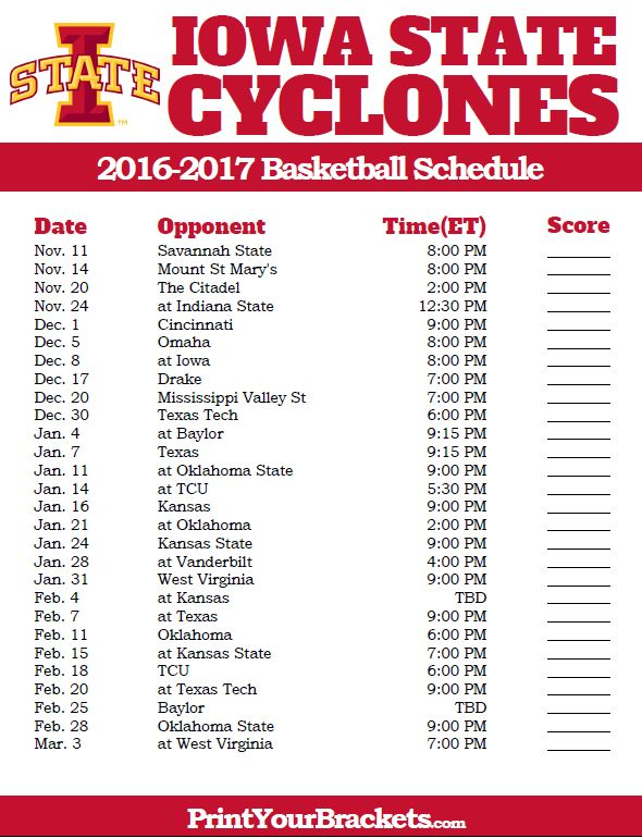 Printable Iowa State Cyclones 2016-2017 College Basketball Schedule