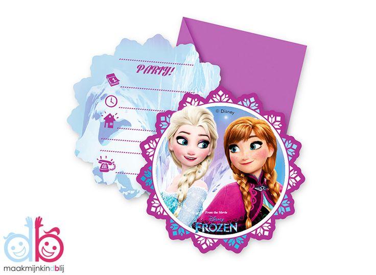 6 mooie Disney Frozen uitnodigingen Noorderlicht met envelop. Uitnodigingen hebben gesloten een afmeting van 11x11cm.