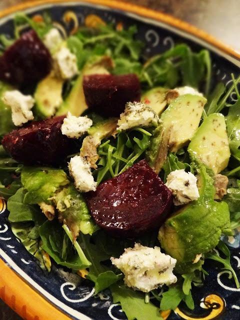 Beet, Avocado & Goat Cheese Salad with Wild Arugula