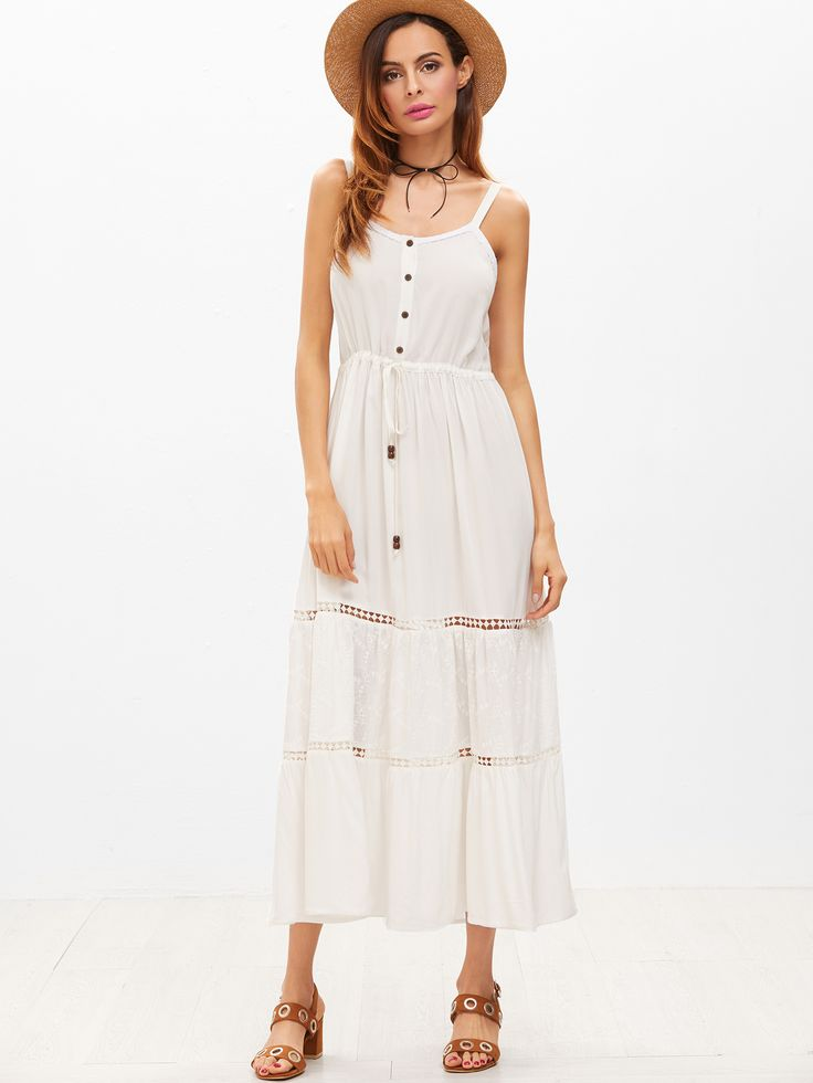 Shop Button Front Drawstring Waist Dotted Crochet Insert Cami Dress online. SheIn offers Button Front Drawstring Waist Dotted Crochet Insert Cami Dress & more to fit your fashionable needs.
