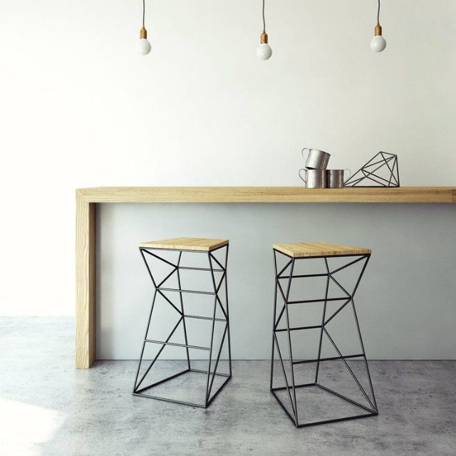 Geometric furniture stools iron wood geometric furniture for Metal design chair