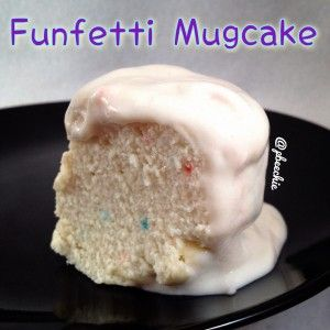 Funfetti Mugcake Serves: 1 2 TBSP coconut flour 1 TBSP corfetti whey protein (Cellucor brand) 2 egg whites 1 TBSP plain Greek yogurt 2 TBSP unsweetened almond milk 1/2 tsp baking powder 1 stevia packet Mix all of the ingredients. Pour in a sprayed mug and microwave for 1:30-2:00 minutes. For the icing, I mixed 1/4 cup plain Greek yogurt, 1/2 scoop corfetti whey protein, and 8-10 stevia drops.
