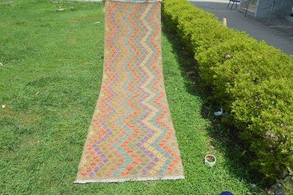 Feet: 9'7 x 2'7 Vintage Afghan Contemporary style Zig Zag Pattern Kilim Runner