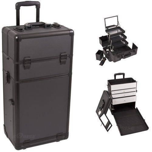 29.5 Inch Black Dot Textured Interchangeable Series Beauty Supply Organizer Cosmetic Train Case Makeup Travel Tote with 2 In-Line Skate Wheels and EVA Brush Holde Inch Black Dot Textured Interchangeable Series Beauty Supply Organizer Cosmetic Train Case Makeup Travel Tote with 2 In-Line Skate Wheels and EVA Brush Holder 29.5