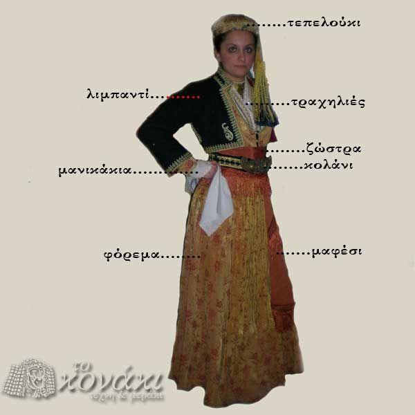 Η γυναικεία φορεσιά της Νάουσας: Η νυφική φορεσιά της Νάουσας αποτελείται απο τα εξής... Το φουστάνι είναι συνήθως ανοιχτού χρώματος χρυσαφί, κοντόμεσο με βαθύ ημικύκλιο άνοιγμα στο μπούστο. / The female costume of Naoussa: The bridal costume of Naoussa consists of the following ... The dress is usually brightly colored gold, kontomeso deep semicircle opening to the bodice.