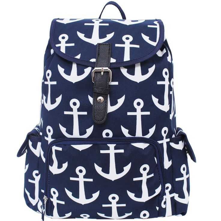 Anchor Print Large School Backpack-Nav