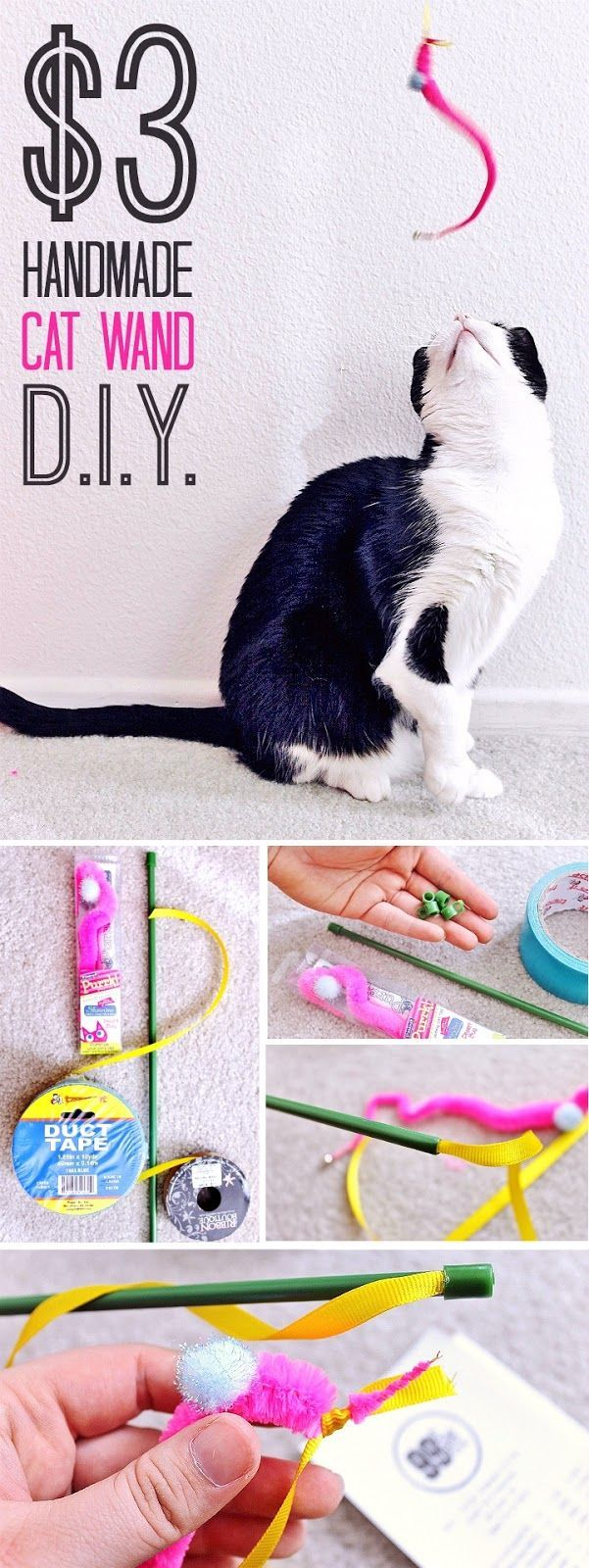 Make 3 of these Cat Wands for $3! $2 D.I.Y. Tennis Ball Octopus Dog Toy- Celebrate Easter with your pets with you shop at 99 Cents Only Stores. Shop adorable Easter baskets and decor, and grab supplies for affordable D.I.Y pet toys! #99YourEaster #DoThe99 #DoingThe99