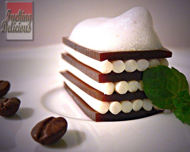 Coffee lasagne with milk foam
