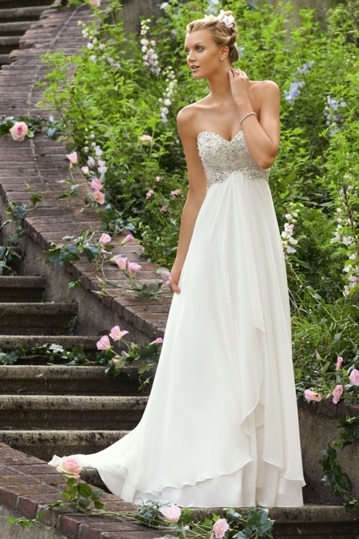 Hot Sale Beaded Bodice A-line Empire LOng Chiffon Wedding Dress