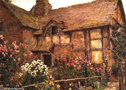 A Garden Cottage Dans Cholstry de Ernest Arthur Rowe (1863-1922, United Kingdom)