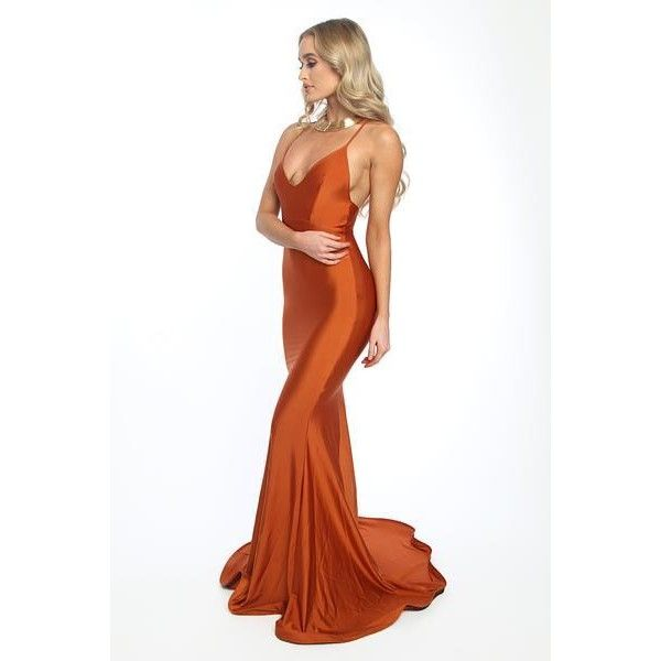 Asyah Mermaids Are Real gown (copper) (£280) ❤ liked on Polyvore featuring dresses, gowns, white evening gowns, white dress, white zipper dress, flared dresses and flare dress