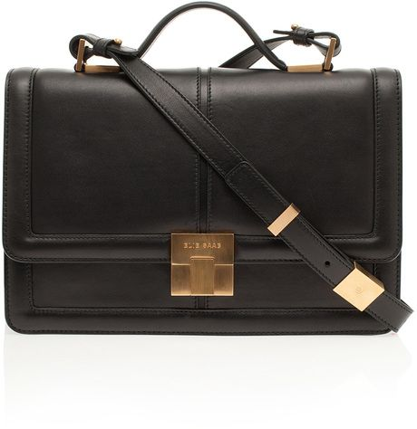 ELIE SAAB Black Medium Calfskin Leather Buckle Bag - Lyst