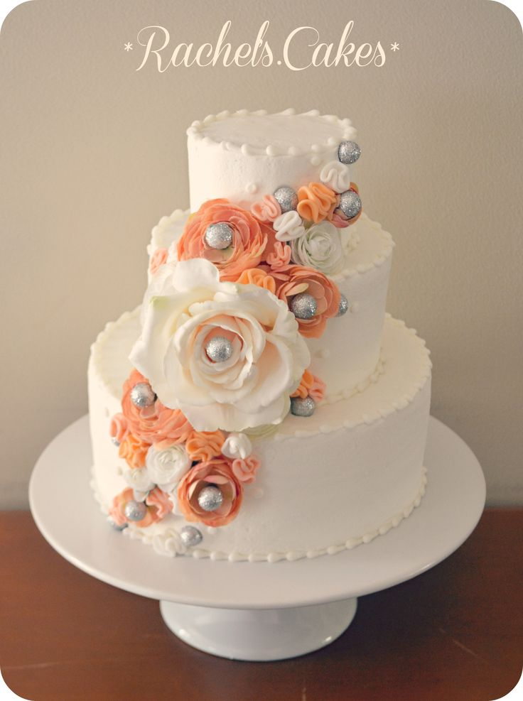coral and grey wedding cake