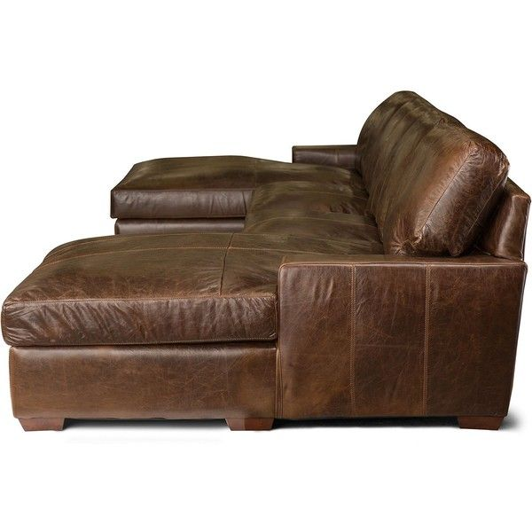 Java Vintage Leather Craftsman Top-Grain 3-Piece Sectional ❤ liked on Polyvore featuring home, furniture, sofas, leather sofa, craftsman furniture, craftsman, leather sectional and leather couch
