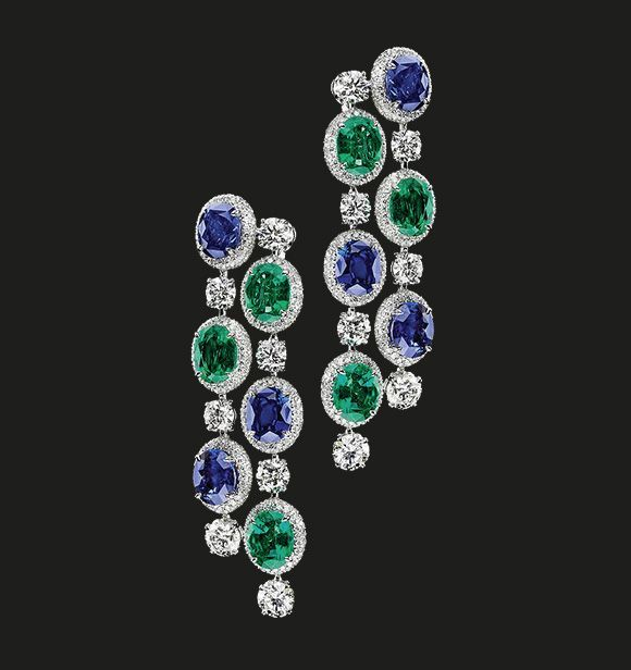 Emerald, Sapphire and Diamond Earrings   Timeless elegance by the House of Tabbah.  Sapphires 16.15 cts Diamonds 12.39 cts Emeralds 10.81 cts  #houseoftabbah #tabbah