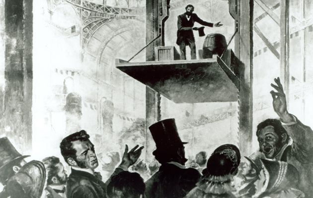 Otis free-fall safety demonstration in 1853.