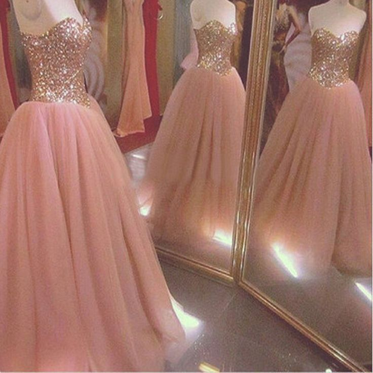 New Arrival Strapless Sweetheart Ball Gown Pretty Glitter Long Prom Dresses. The sparkly dress is fully lined, 4 bones in the bodice, chest pad in the bust, lace up back or zipper back are all availab