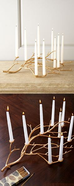 Turn your Fall branches into a candle lit centrepiece. This is perfect for those rustic themed parties! #events #planning #decor