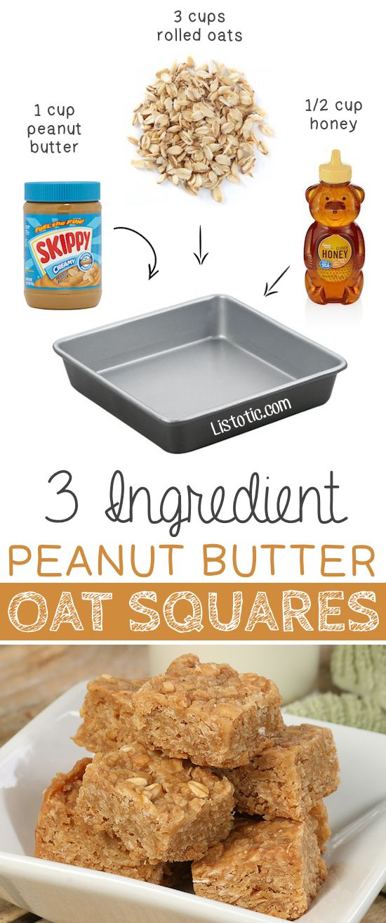 #3. 3 Ingredient Peanut Butter Oat Squares -- These are so GOOD and easy (no bake)! | 6 Ridiculously Healthy Three Ingredient Treats | Listotic