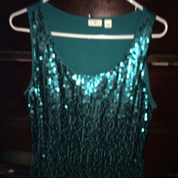 Green sequins top from Cato Green sequins tank west under blazer or by self.  Only worn once but great condition.  Wear with fav jeggins or jazz up one of those work suits Cato Tops