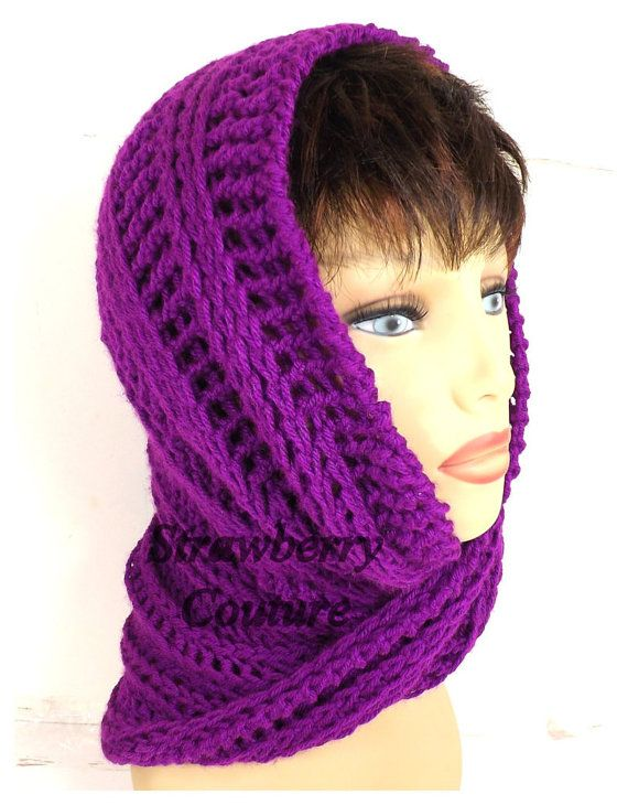 Purple Neon Crochet Scarf Crochet Infinity Scarf Crochet Hooded Cowl Purple Neon Scarf JOAN Crochet Scarf Hooded Cowl by strawberrycouture by #strawberrycouture on #Etsy