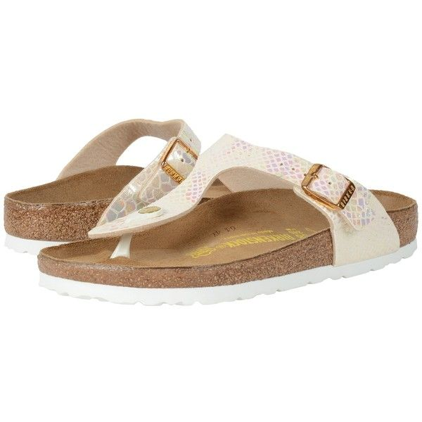 Birkenstock Gizeh (Shiny Snake Cream Birko-Flor ) Women's Dress... (635 HRK) ❤ liked on Polyvore featuring shoes, sandals, narrow shoes, evening shoes, dress sandals, low heel evening shoes and special occasion sandals