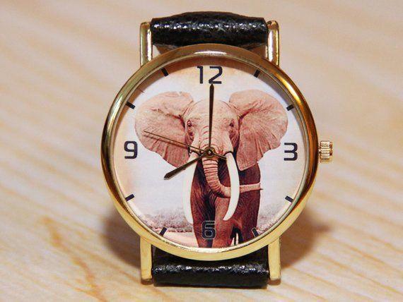 Reloj de elefante, accesorios de moda, relojes de mujer, reloj de hombre, reloj de cuarzo, reloj moderno, joyería de elefante, regalo de Navidad, reloj marrón   – Womens Watches