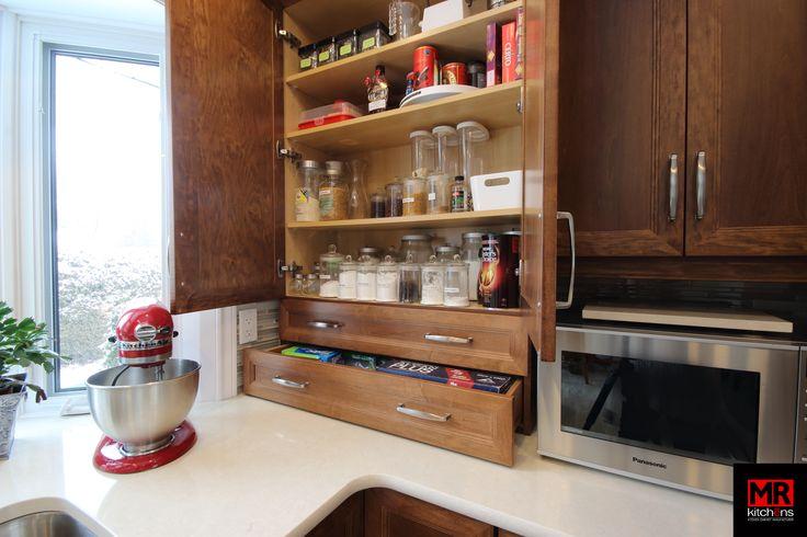 Organized kitchen storage.  www.mrkitchens.ca
