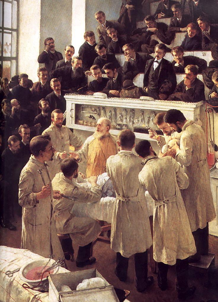 """Theodor Billroth operando (""""Theodor Billroth Operating"""").  Adalbert Franz Seligmann. 1880. Localización:  Österreichische Galerie Belvedere (Viena). https://painthealth.wordpress.com/2016/02/17/theodor-billroth-operando/"""