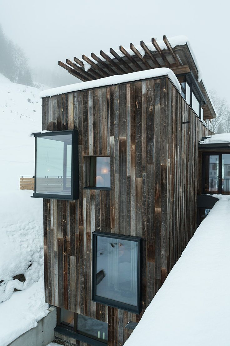 Part of an addition and renovation to a traditional building. Hotel Wiesergut, Austria by Gogl Architekten.