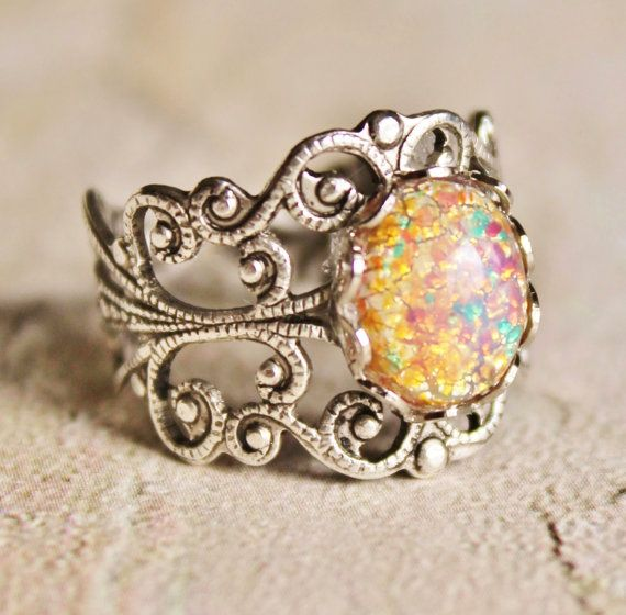 Vintage Silver Fire Opal Ring,Harlequin Opal,Silver STURDY Adjustable Filigree Ring,Opal Ring,Opal Jewelry,Antique,Birthstone,Fire Opal Rin