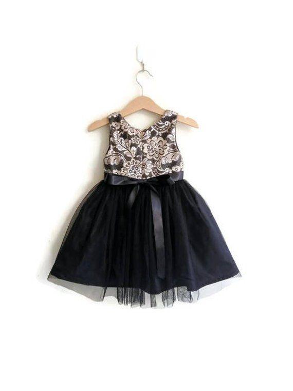 50a9b6f901 Flower girls dress black and gold lace tutu dress girl formal