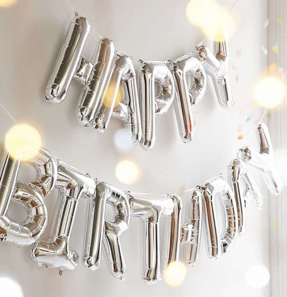happy birthday silver letter balloon banner garland 16 mylar foil alphabet letter number small medium 16 inch first birthday