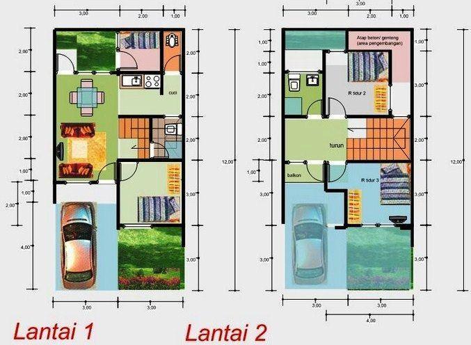 2 Lantai 6x12 Denah Desain Interior Rumah Minimalis Denah Rumah Rumah Rumah Minimalis