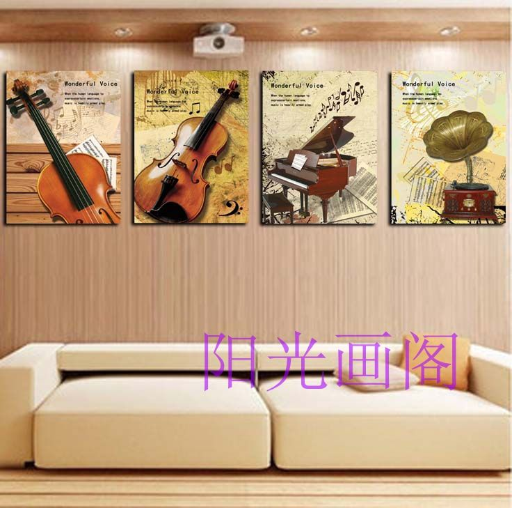 DVD Music Disc player piano bar cafe decorative element in the living room study painting frame painting wall paintings KT board