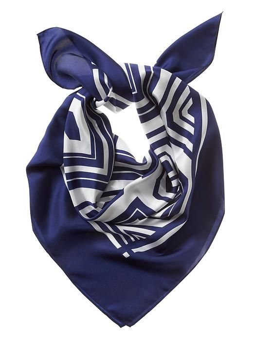blue geo patterned scarf will add a chic touch to polished suit look | Banana Republic