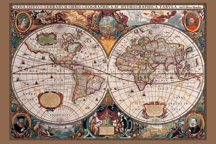 Planisfero del 17° secolo Poster su AllPosters.it