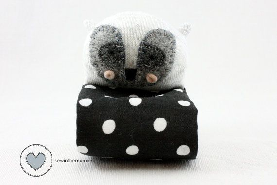 Woodland Creatures Raccoon Sock Doll Pram Buddy by sewinthemoment perfect to velcro on to a pram, play gym, rocker, or travel in your baby bag. Makes a lovely baby shower gift.