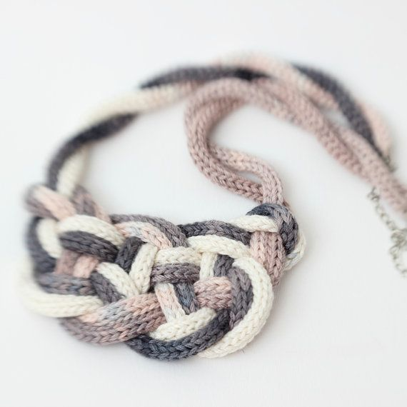 Sale 50% Nautical style knot necklace  - hand french spool knitted i-cord - fresh color bamboo yarn jewelry on Etsy, $30.00