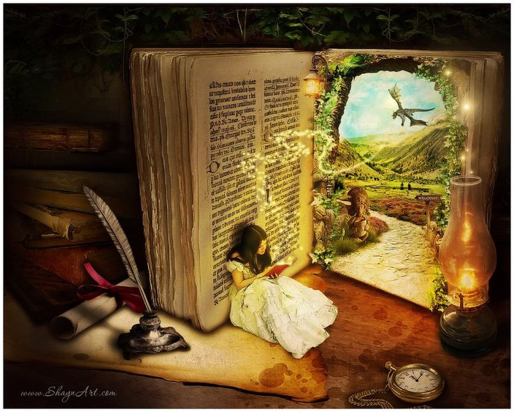 A book is door to another dimension.    Art by http://www.shaynart.com/p/digital-art.html