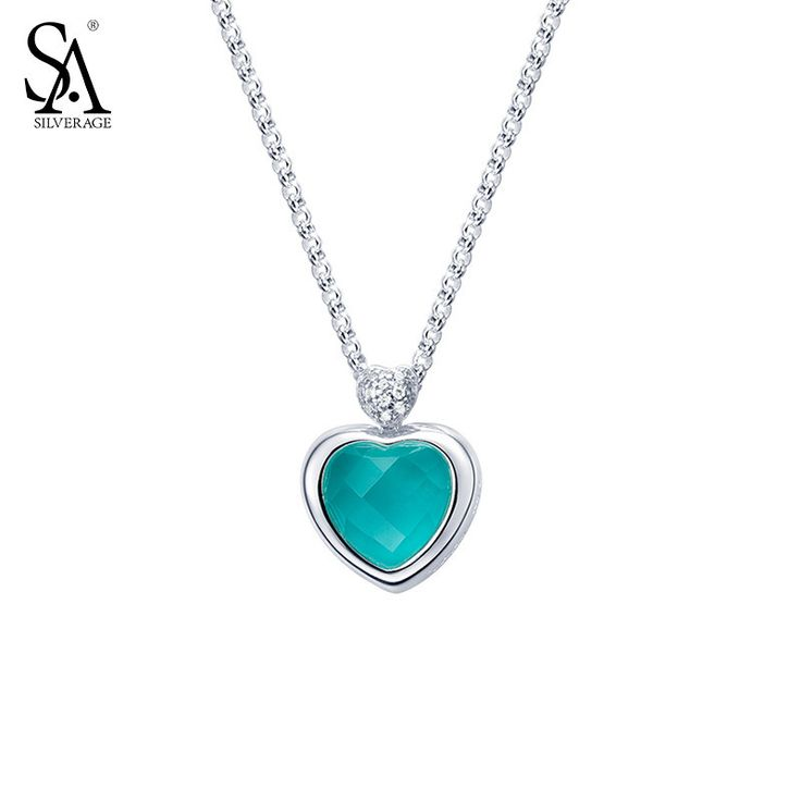 SA SILVERAGE Real 925 Sterling Silver Heart Necklaces Pendants For Women Fine Jewelry Blue Love 2017 Hot Sale