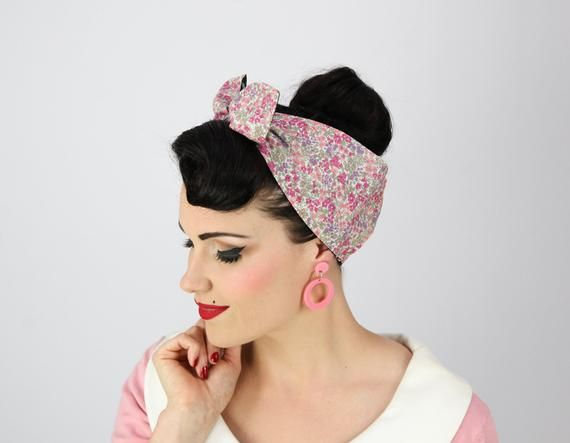 FLORAL SKULL Glitter Head scarf/Head wrap/ Turban. Rockabilly/ Retro/ Vintage inspired. 50s style   – Products