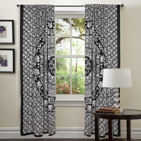 Window Treatments & Hardware Ombre Curtain Window Decor 2 Panel Set Valances Bohemian Drapes Dorm Hippie Boha Special Buy